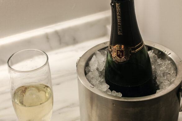 chilled bottle of champagne