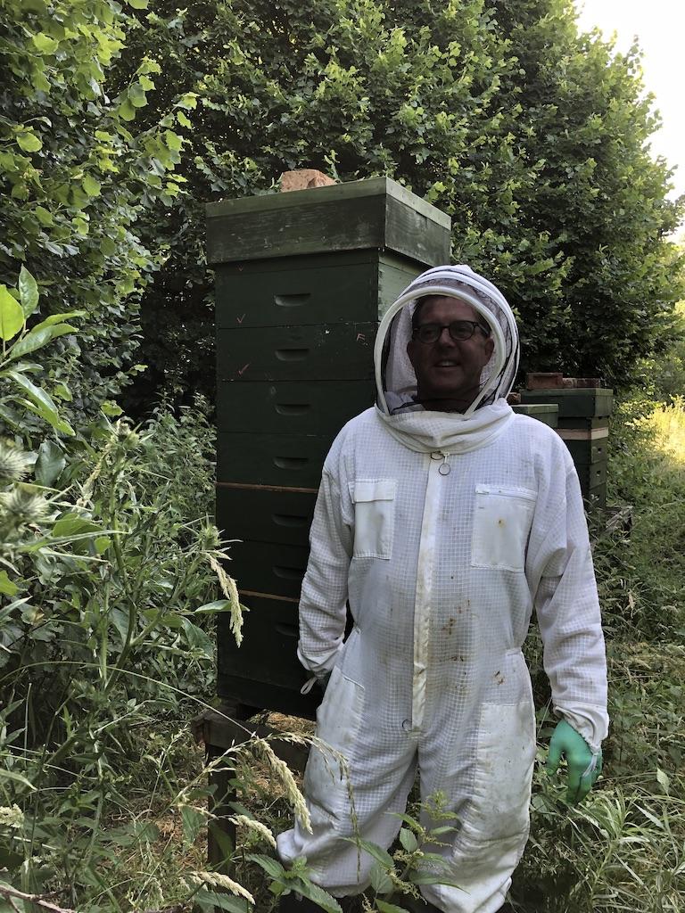 Mark in his bee suit