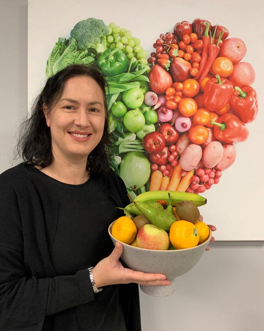 Emma with fruit bowl