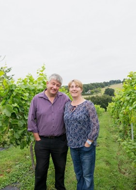 Paul and Lynn Langham at the vineyard