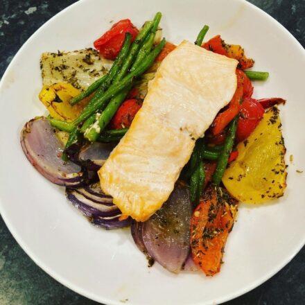 Salmon traybake with roasted veg