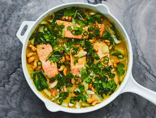 salmon & boy choy coconut curry