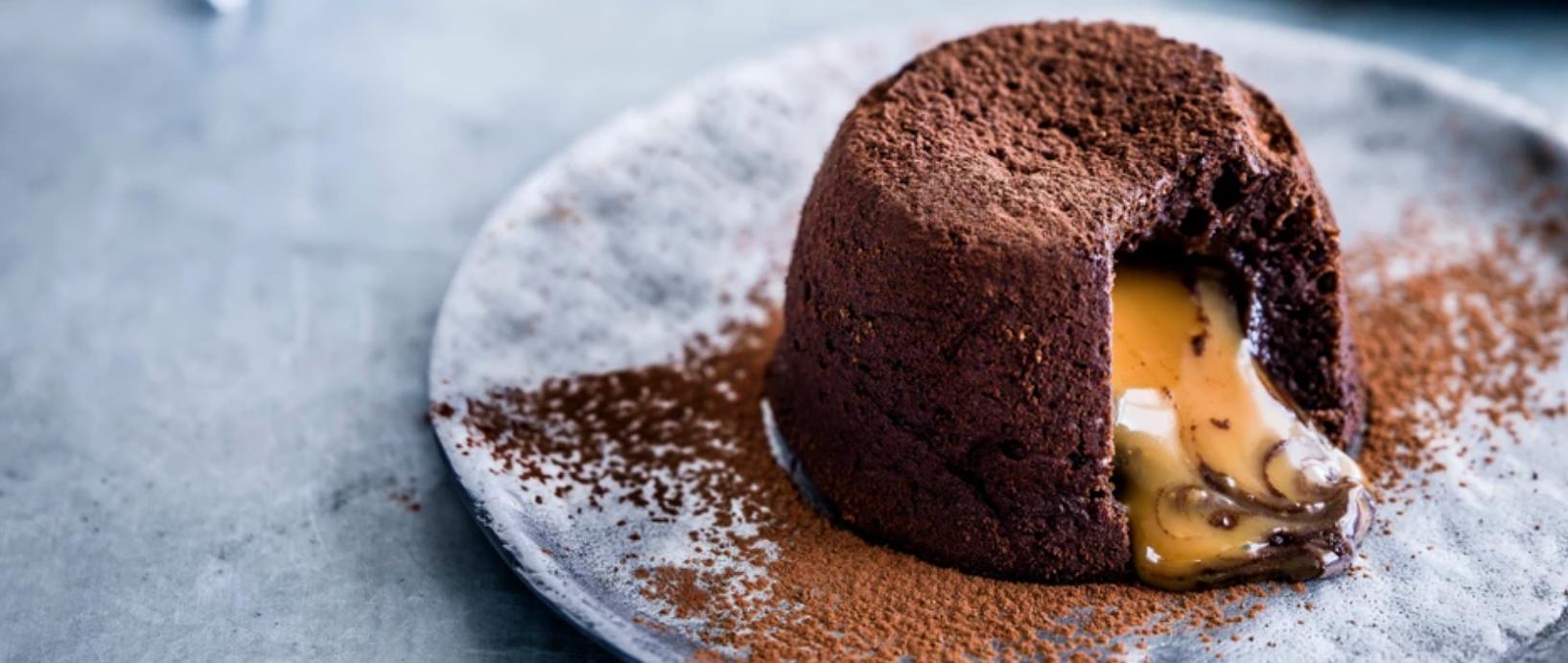 Salted caramel chocolate fondant