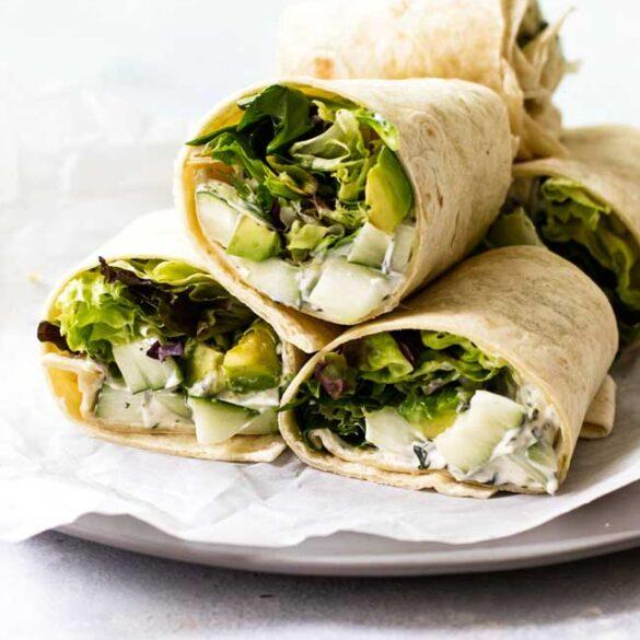 Cucumber-Avocado-feta wrap