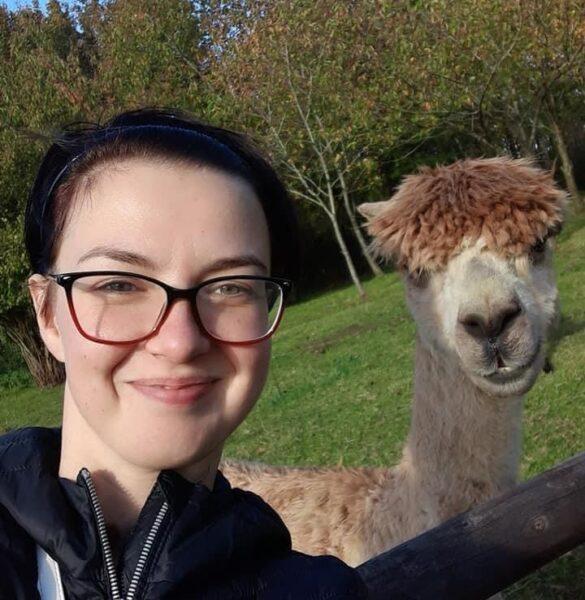 Natalia with a llama