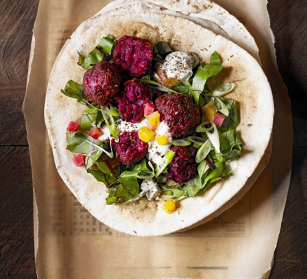 Beetroot falafel in flatbreads