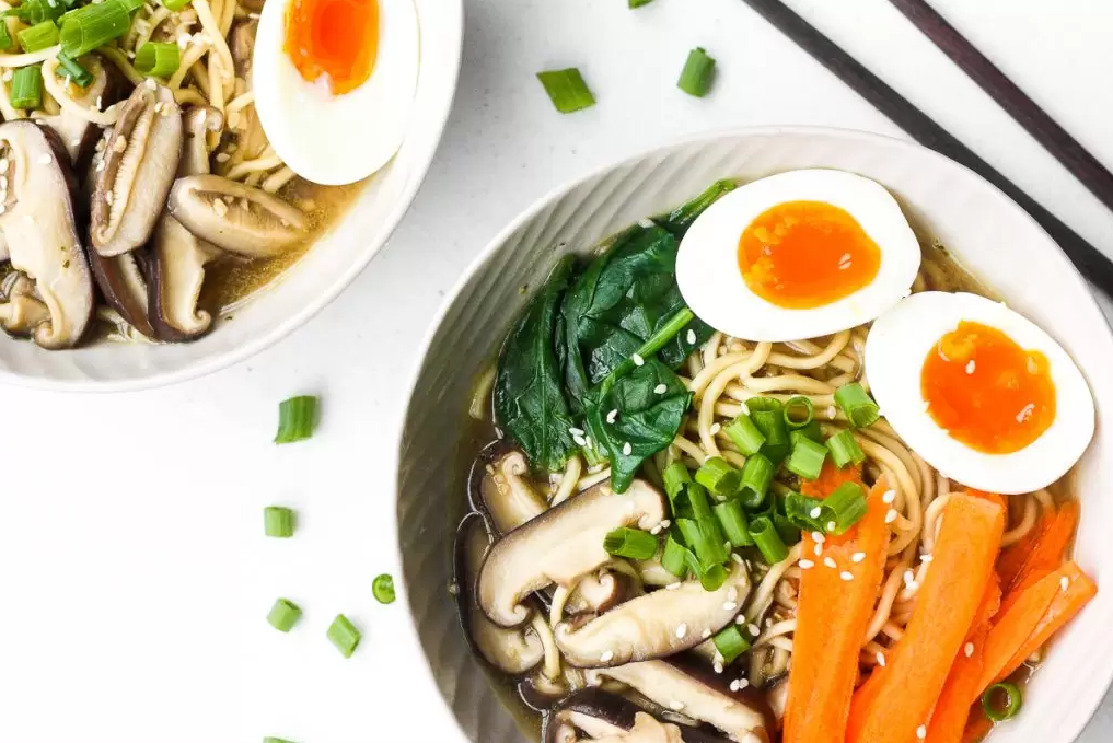 Vegetarian Ramen with spinach, carrot, mushrooms and egg