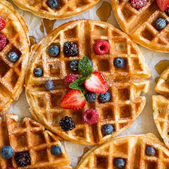 belgian-waffles-with-fruit-maple-syrup