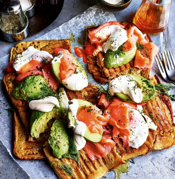 salmon and avocado waffles