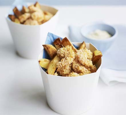 Cheats Scampi with chunky chips