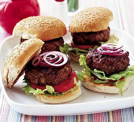 beef burgers on a plate