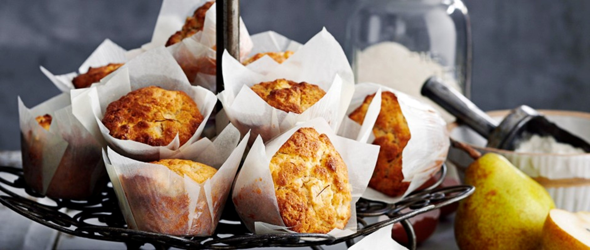 pear, saffron and browned butter muffins