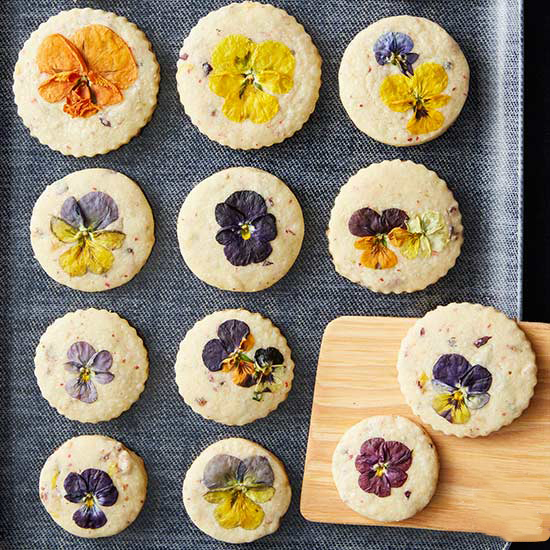 viola and pink peppercorn biscuits