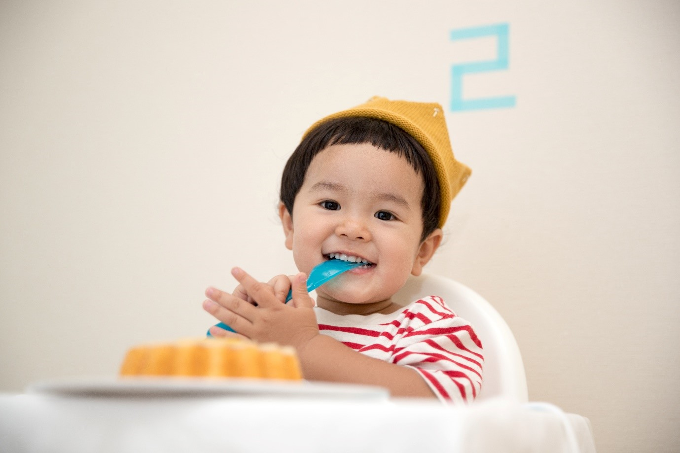 small child in a high chair