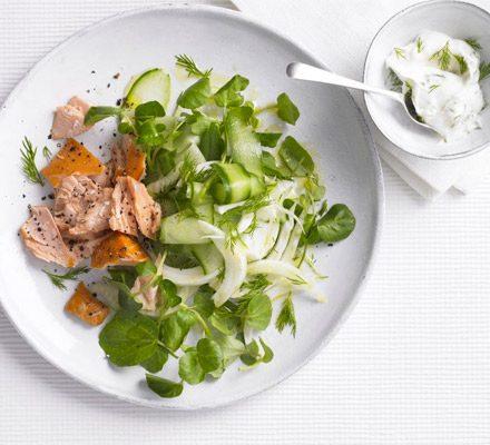 Hot smoked salmon with fennel salad & lemon mayo