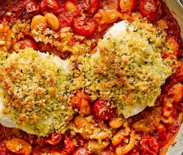 Baked cod with butter beans