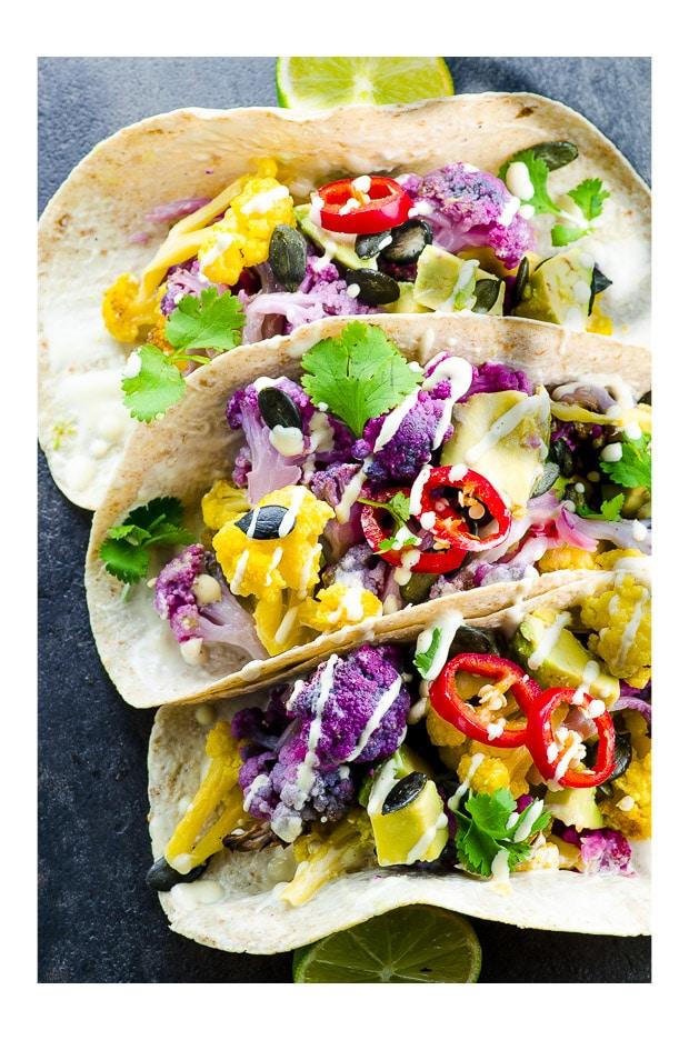 roasted-yellow-and-purple-cauliflower-tacos