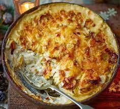 Cheesy celeriac, leek & rosemary gratin