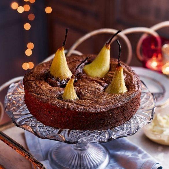 chocolate-and-pear-brownie-torte