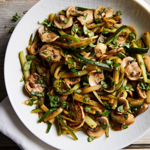 Courgette and mushroom saute