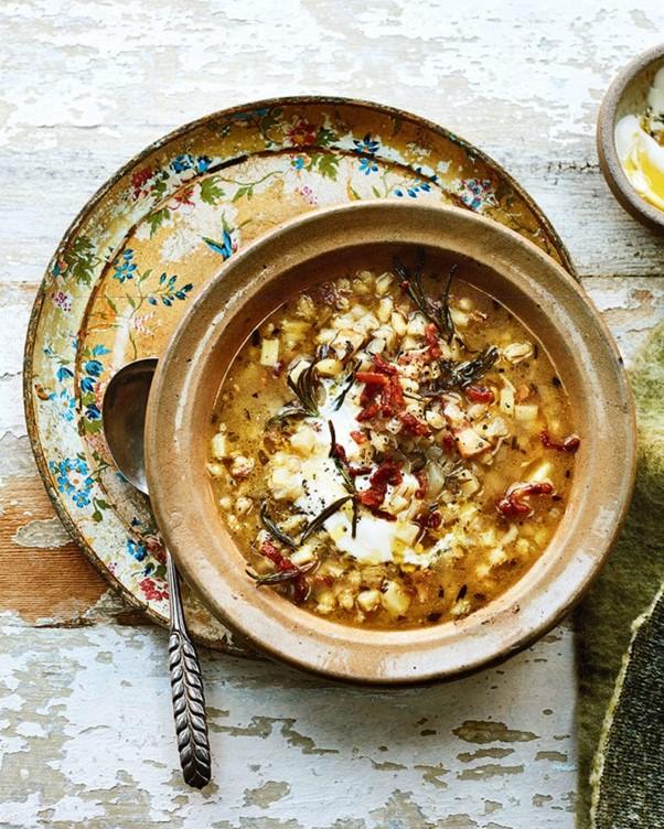 Celeriac, bacon and barley soup