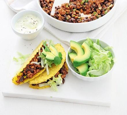 pork and black bean tacos