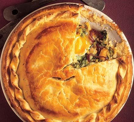 Fresh Savoy, onion & egg pie